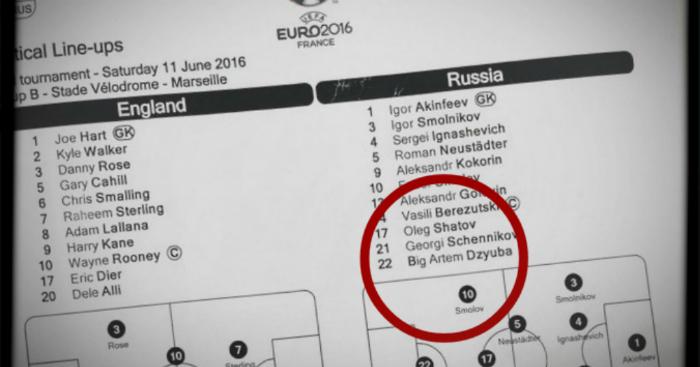 Russian team sheet Adam