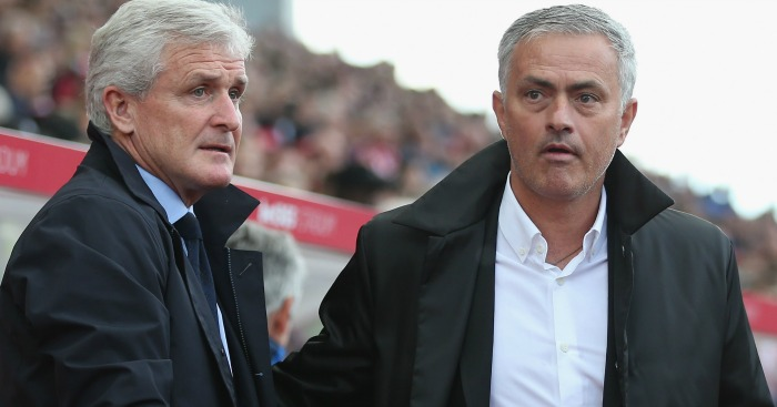 Stoke's Mark Hughes tried to get Jose Mourinho sent off