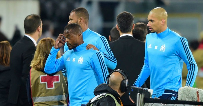 Patrice Evra sent off for 'aiming kick at Marseille fan'