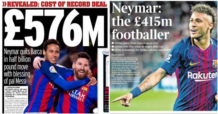 e40a023b9b568 The money game '£576m' – the Daily Mirror's Neymar-related back-page  headline, August 3. 'Neymar would have cost Paris Saint-Germain ...