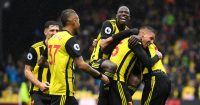 WATFORD, ENGLAND - AUGUST 26: Jose Holebas of Watford celebrates with teammates after scoring his team's second goal during the Premier League match between Watford FC and Crystal Palace at Vicarage Road on August 26, 2018 in Watford, United Kingdom. (Photo by Michael Regan/Getty Images)