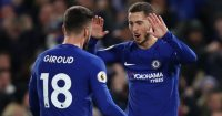LONDON, ENGLAND - FEBRUARY 12: Eden Hazard of Chelsea celebrates after scoring his sides first goal with Olivier Giroud of Chelsea during the Premier League match between Chelsea and West Bromwich Albion at Stamford Bridge on February 12, 2018 in London, England. (Photo by Julian Finney/Getty Images)