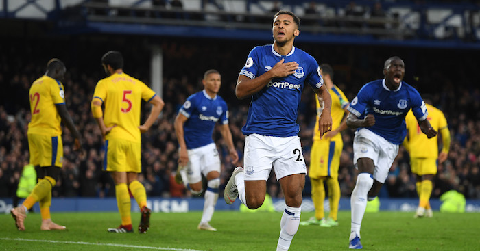 during the Premier League match between Everton FC and Crystal Palace at Goodison Park on October 21, 2018 in Liverpool, United Kingdom.