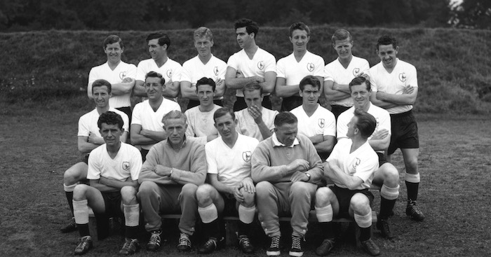 5th November 1960: The 1961/62 season 'Double'-winning (League Championship and FA Cup) Tottenham Hotspur team (back row, left to right) Dave Mackay, Baker, Hopkins, Norman, Ryden, Bobby Smith, Hills, (centre row) Allen, Henry, Hollowbread, Bill Brown, Marchi, Cliff Jones, (front row) Terry Dyson, manager Bill Nicholson, Danny Blanchflower, Cecil Poynton, Harmer. (Photo by Evening Standard/Getty Images)