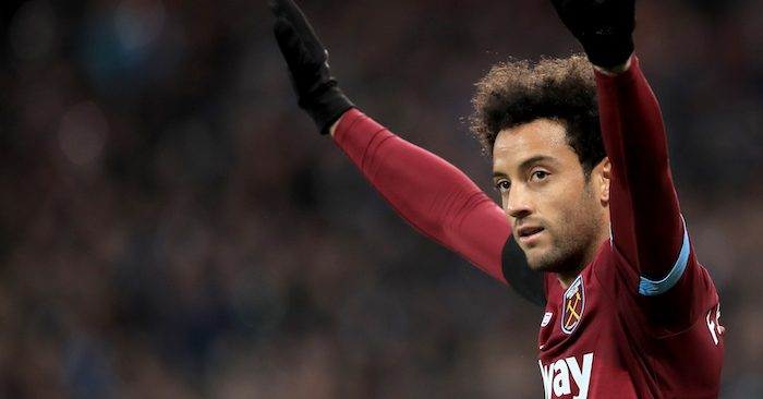 LONDON, ENGLAND - NOVEMBER 03: Felipe Anderson of West Ham United celebrates during the Premier League match between West Ham United and Burnley FC at London Stadium on November 3, 2018 in London, United Kingdom. (Photo by Marc Atkins/Getty Images)