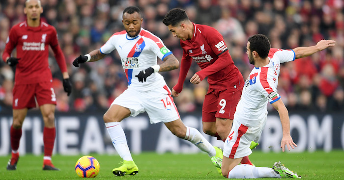 during the Premier League match between Liverpool FC and Crystal Palace at Anfield on January 19, 2019 in Liverpool, United Kingdom.