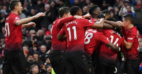 during the Premier League match between Manchester United and Brighton & Hove Albion at Old Trafford on January 19, 2019 in Manchester, United Kingdom.