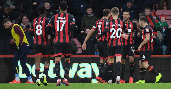 during the Premier League match between AFC Bournemouth and West Ham United at Vitality Stadium on January 19, 2019 in Bournemouth, United Kingdom.