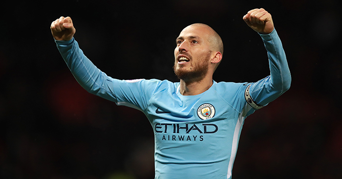 Manchester City's David Silva celebrates victory after final whistle