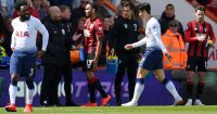 BOURNEMOUTH, ENGLAND - MAY 04: Heung-Min Son of Tottenham Hotspur is sent off after he received a red card following a foul during the Premier League match between AFC Bournemouth and Tottenham Hotspur at Vitality Stadium on May 04, 2019 in Bournemouth, United Kingdom. (Photo by Justin Setterfield/Getty Images)