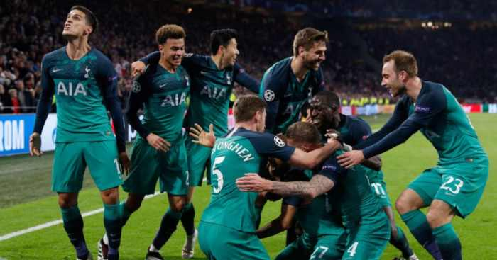 Tottenham players celebrate Ajax