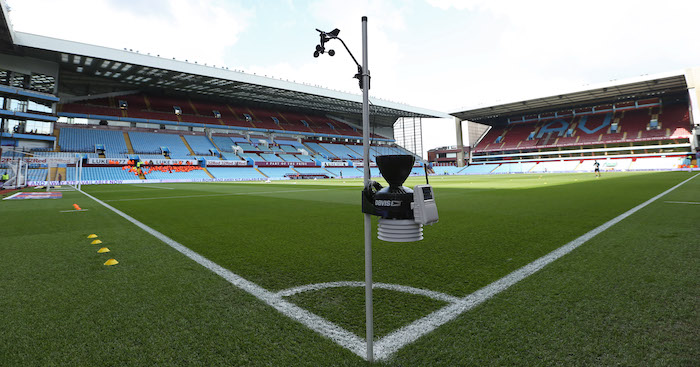 BIRMINGHAM, ENGLAND - MAY 11: A weather monitoring device is seen on the corner flag prior to the Sky Bet Championship Play-off semi final first leg match between Aston Villa and West Bromwich Albion at Villa Park on May 11, 2019 in Birmingham, England. (Photo by Paul Harding/Getty Images)