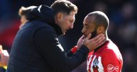 SOUTHAMPTON, ENGLAND - APRIL 27: Ralph Hasenhuettl, Manager of Southampton consoles Nathan Redmond of Southampton following their sides draw in the Premier League match between Southampton FC and AFC Bournemouth at St Mary's Stadium on April 27, 2019 in Southampton, United Kingdom. (Photo by Stu Forster/Getty Images)
