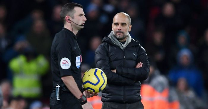 Pep Guardiola Michael Oliver Manchester City