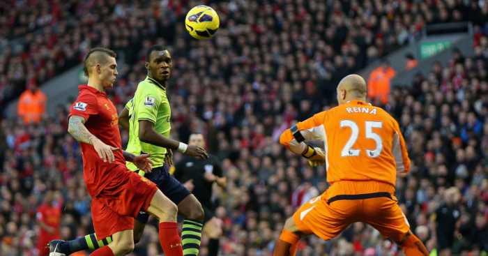 Christian Benteke Pepe Reina Liverpool Aston Villa