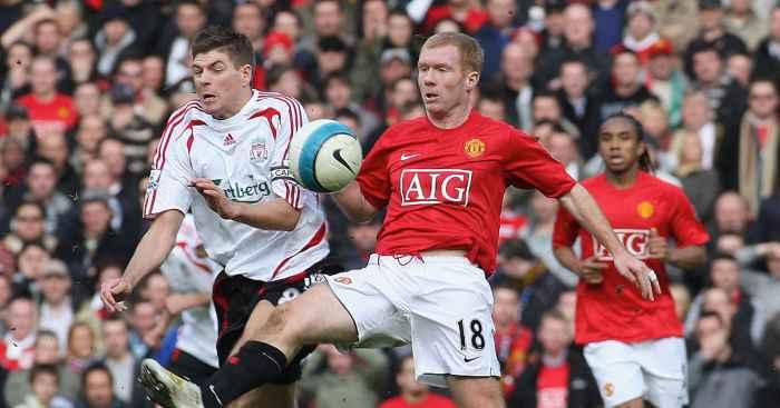 Steven Gerrard Paul Scholes Liverpool Manchester United