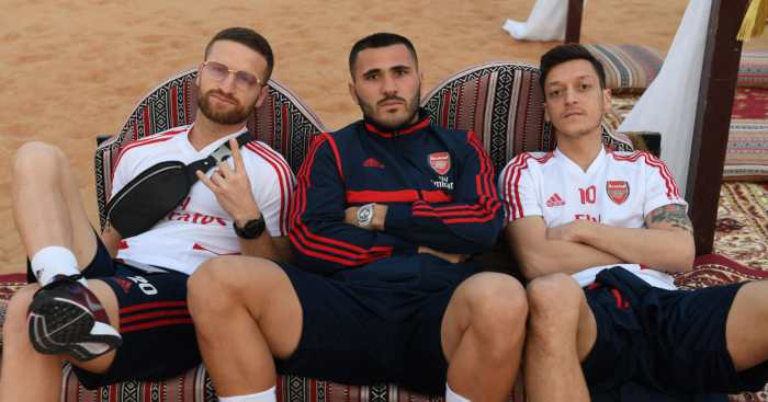 Mesut Ozil Arsenal Sead Kolasinac Shkodran Mustaf