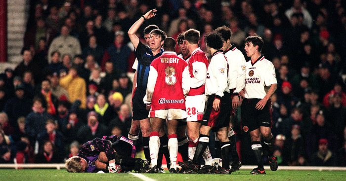 Ian Wright Peter Schmeichel Arsenal Manchester United