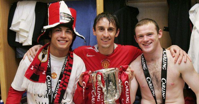 Cristiano Ronaldo Gary Neville Wayne Rooney Man Utd
