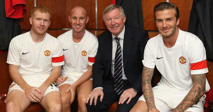Sir Alex Ferguson David Beckham Paul Scholes Nicky Butt Man Utd