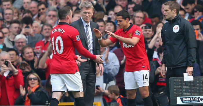 David Moyes Javier Hernandez Wayne Rooney Man Utd