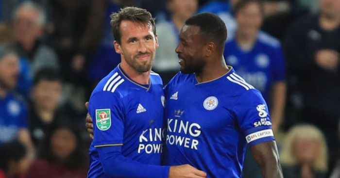 Wes Morgan Christian Fuchs Leicester City