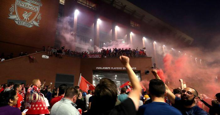 Liverpool fans celebrate outside Anfield win Premier League