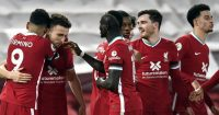 Liverpool players celebrate against Leicester