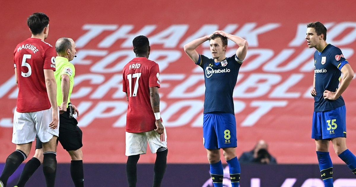 Jan Bednarek red card Manchester United 9-0 Southampton