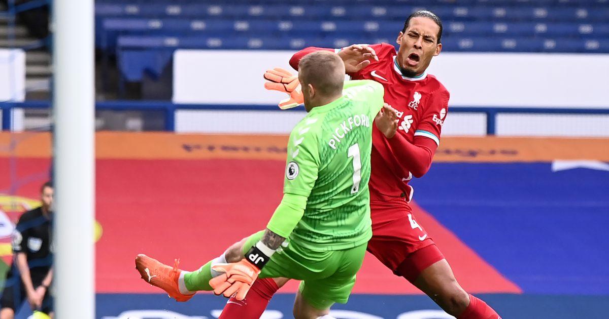 Virgil van Dijk Jordan Pickford Liverpool Everton