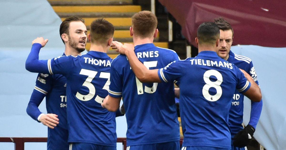 Leicester celebrate Aston Villa