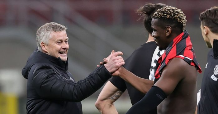 Ole Gunnar Solskjaer congratulates Paul Pogba after Manchester United beat Milan