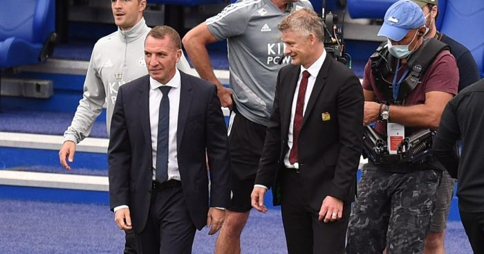 Leicester manager Brendan Rodgers and Manchester United manager Ole Gunnar Solskjaer talk on the touchline