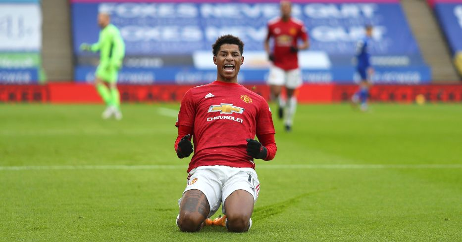 Marcus Rashford celebrates scoring for Man Utd at Leicester
