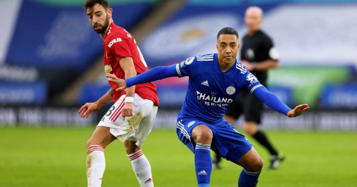Bruno Fernandes challenges Youri Tielemans during Leicester's draw with Man Utd