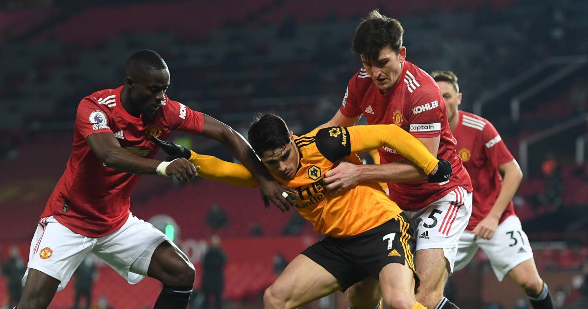 Eric Bailly, Harry Maguire and Pedro Neto battle