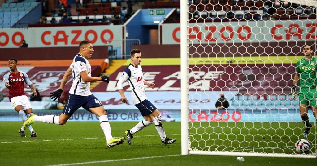 Carlos Vinicius scores for Tottenham at Aston Villa