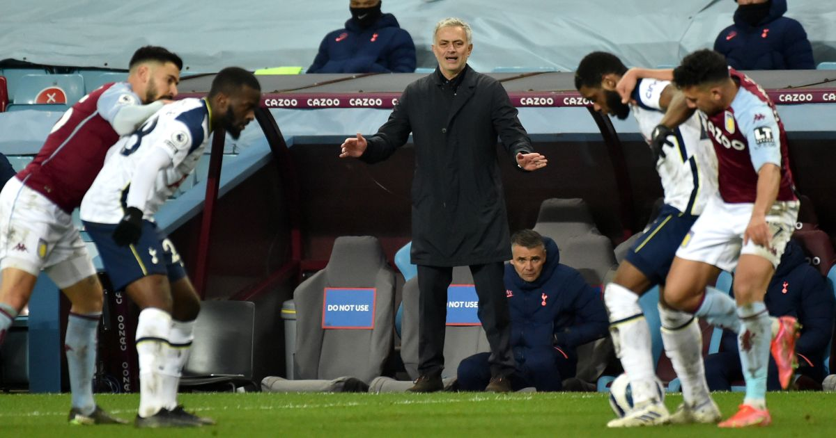 Jose Mourinho watches on as Tottenham face Aston Villa