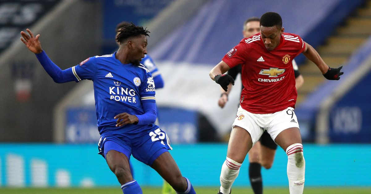Wilfred Ndidi and Anthony Martial in FA Cup