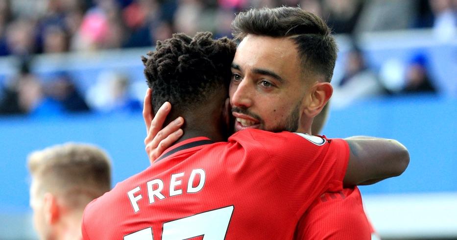 Bruno Fernandes hugs Fred