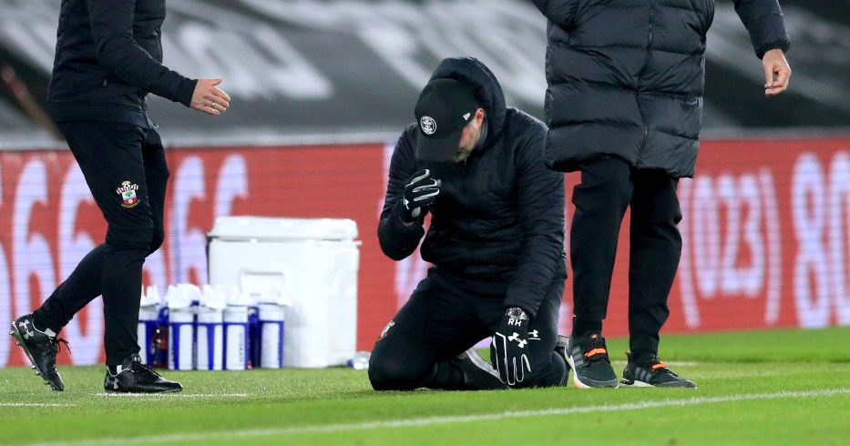 Ralph Hasenhuttl sinks to his knees