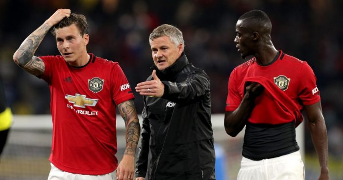 Victor Lindelof, Ole Gunnar Solskjaer and Eric Bailly