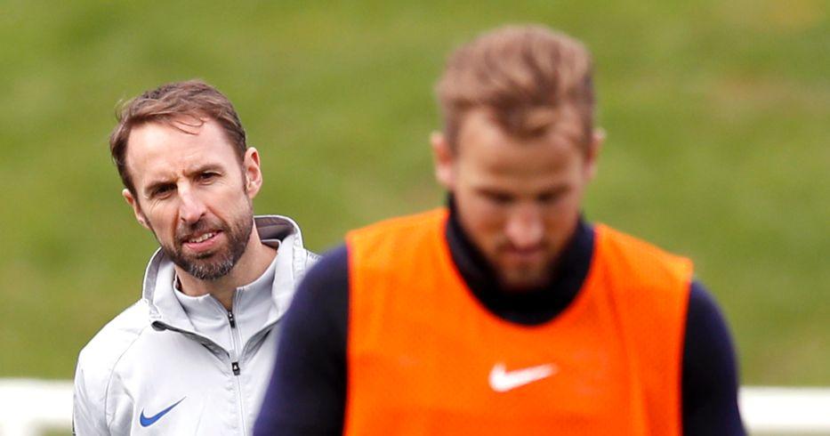 Gareth Southgate watches Harry Kane