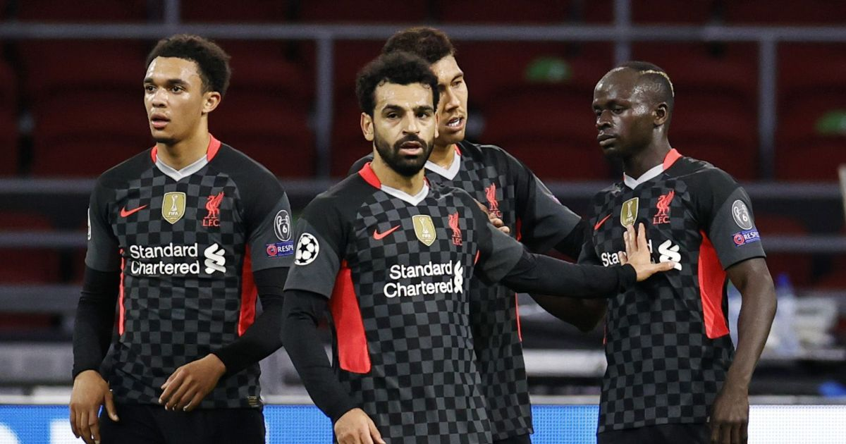 Mo Salah celebrates with Trent Alexander-Arnold, Roberto Firmino and Sadio Mane
