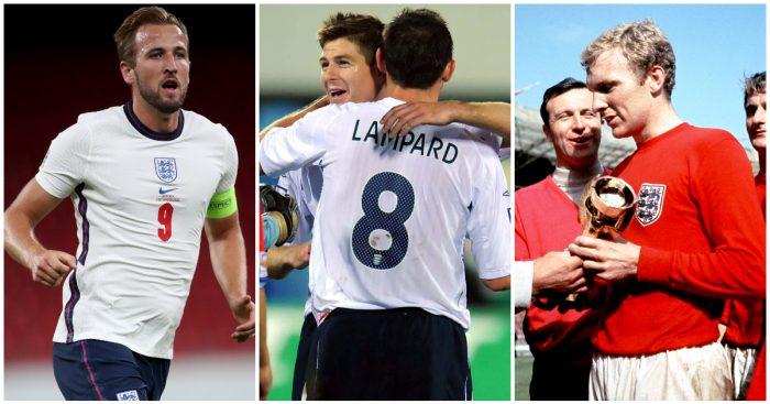 Premier League clubs England caps Kane Gerrard Lampard Moore