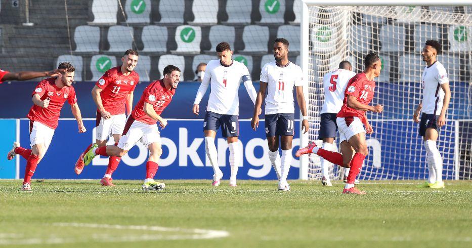 Switzerland Under-21 players celebrate scoring