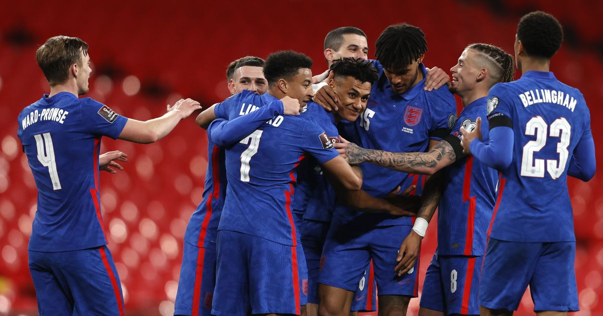 Ollie Watkins celebrates his debut England goal