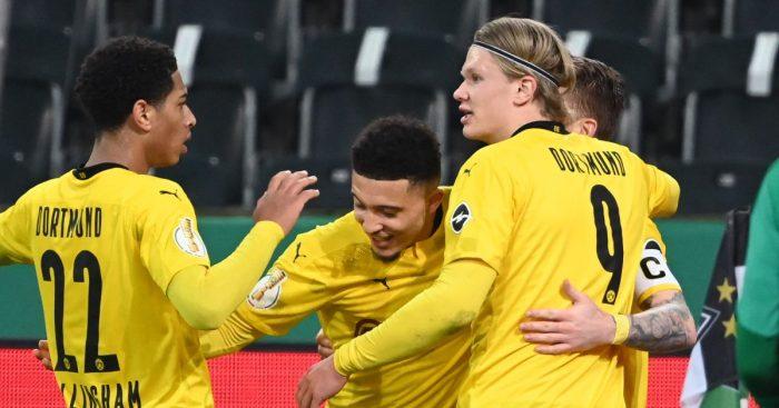 Jadon Sancho celebrates his goal
