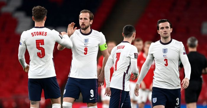 John Stones, Harry Kane, Phil Foden and Ben Chilwell embrace