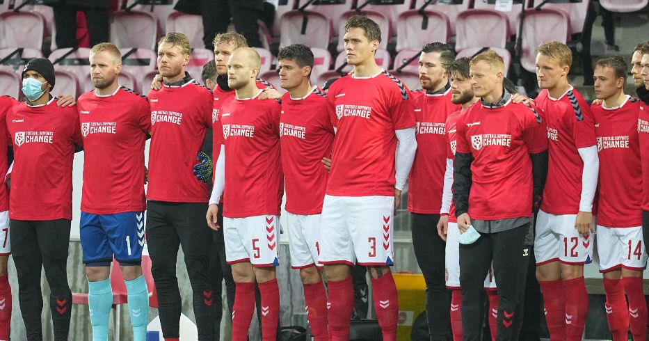 Denmark players wear shirts in protest of the Qatar World Cup